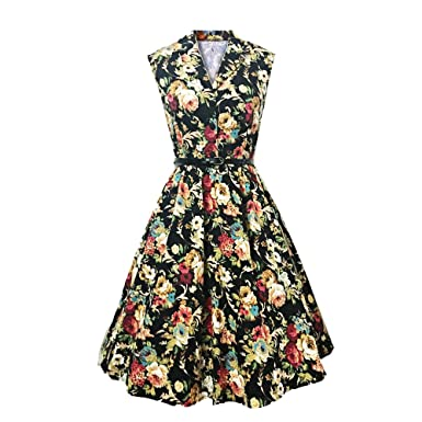 215f728d00a1 DressLily Vintage Revers Blumendruck G¨¹rtel A-Linie Damen Kleid ...