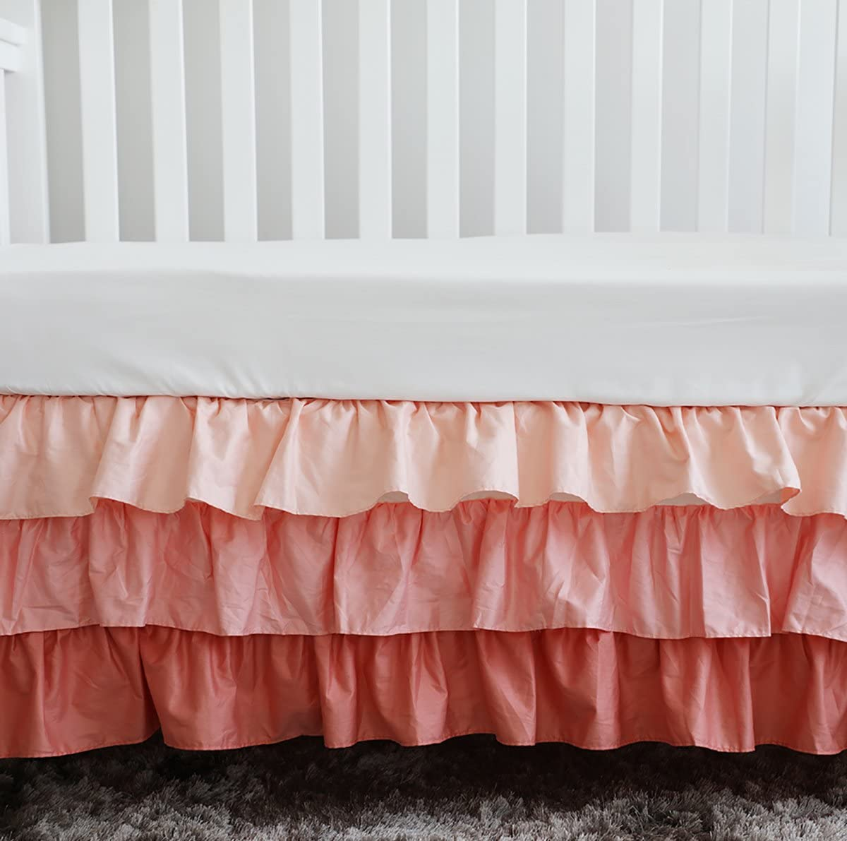 Sahaler Peach Coral 3 Tiered Ruffled Crib Skirt Baby Girl Nursery Bedding Dust Ruffle (Coral)