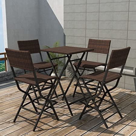 lingjiushopping Juego Mesa sillas de jardín 5 unidades Polirratán plegable marrón material color Polirratán + marco de acero barnizado a polvo Juego de muebles de exterior: Amazon.es: Hogar