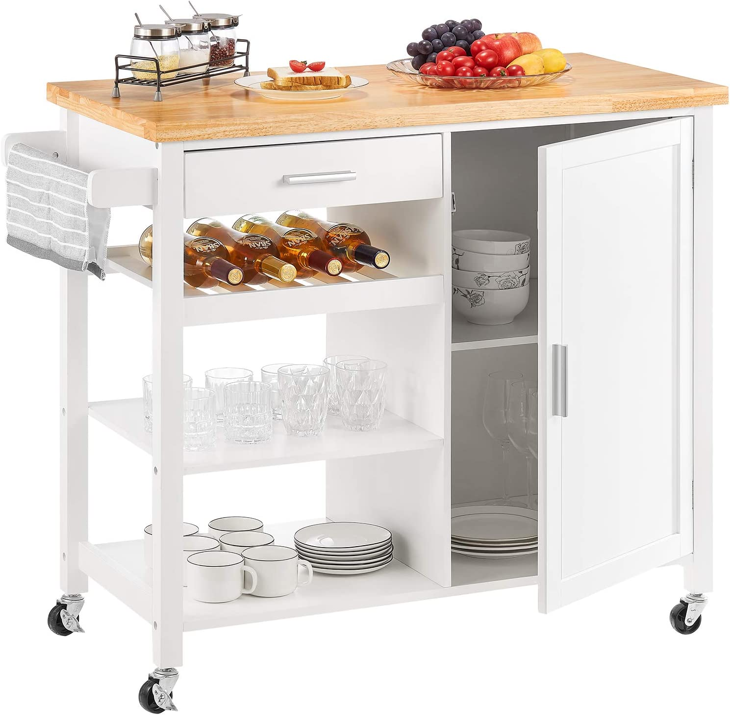 Kealive Kitchen Island On Wheels Rolling Kitchen Island With Storage Wooden Mobile Island For Home Style Wood Top Drawer Handle Rack Brown 41 3l X 18 9w X 35h Kitchen Islands