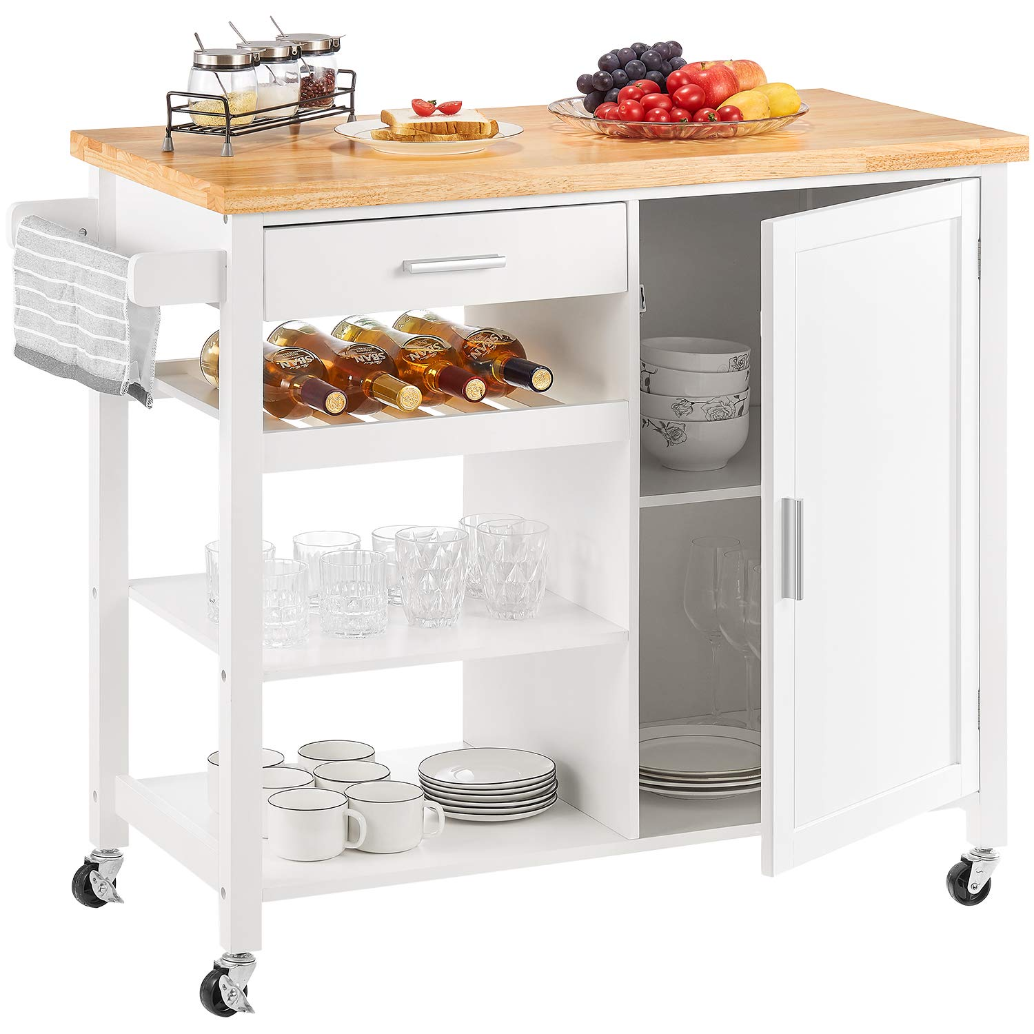 kealive Kitchen Island on Wheels Rolling Kitchen Island with Storage, Wood Top Wine Shelf Handle Rack Cabinet, Home Style, White 41.3L x 18.9W x 35H by kealive