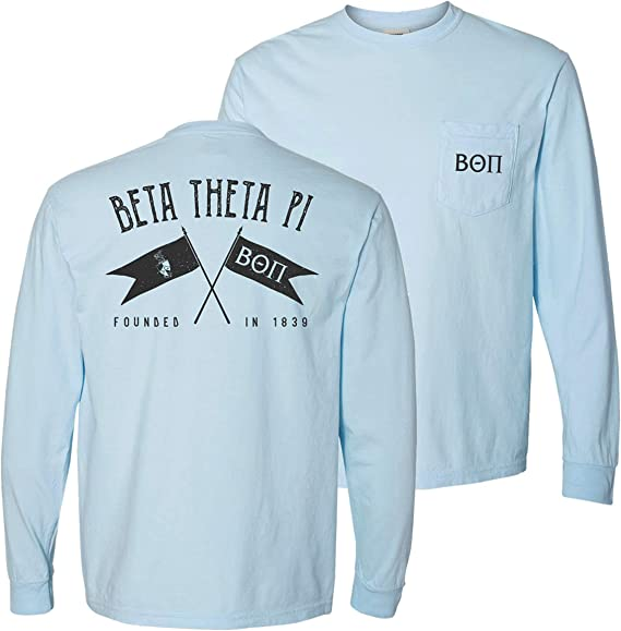 Beta Theta Pi Fraternity Letters COMFORT COLORS POCKET Shirt NEW