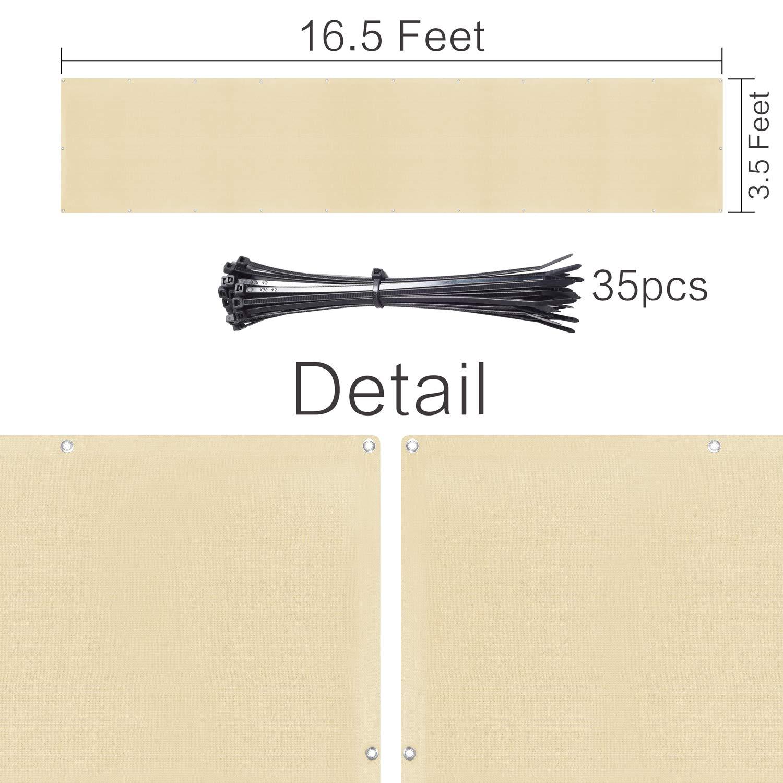 106x502cm Jard/ín Protecci/ón de Privacidad HDPE Resistente al Viento y al Agua se Puede Cortar YQing Privacidad de Balc/ón y Pantallas Protectoras Beige con Cables y Cuerdas