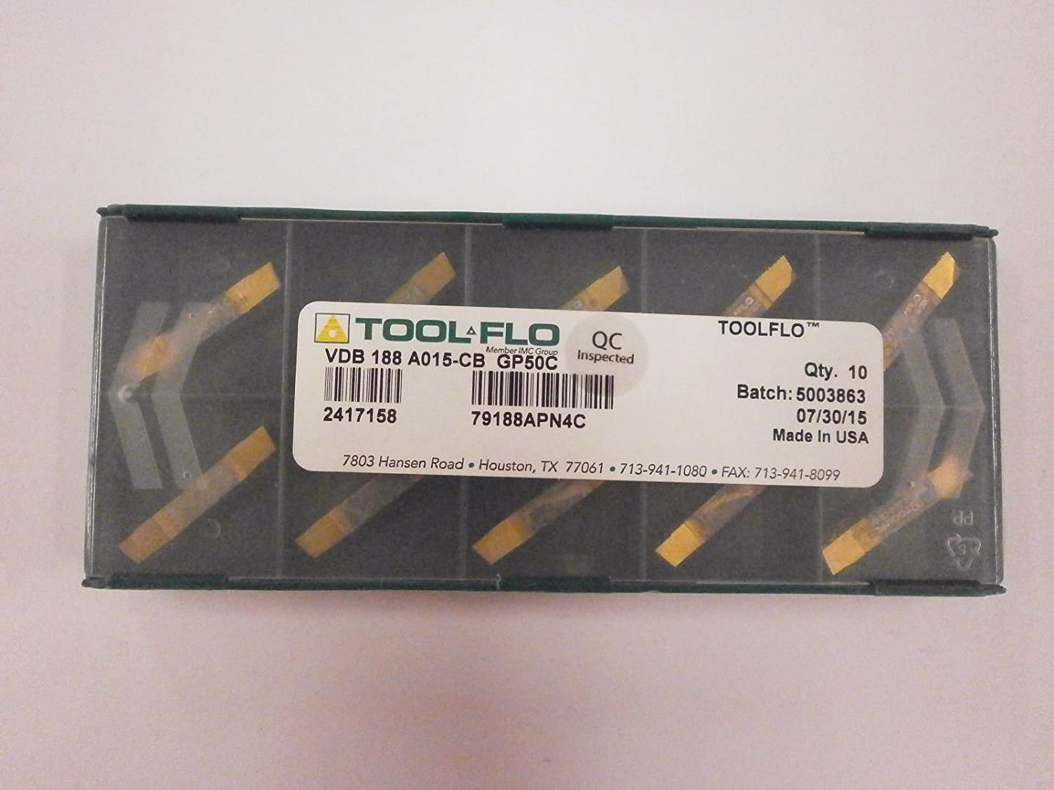 ToolFlo VDB 188A015-CB GP50 Carbide VEE Bottom Deep Grooving Inserts Tool Flo Made in USA 10pc