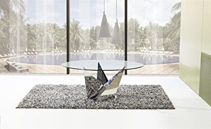 Exceptionnel Casabianca Furniture Firenze Collection Glass Dining Table, Stainless  Steel/Clear