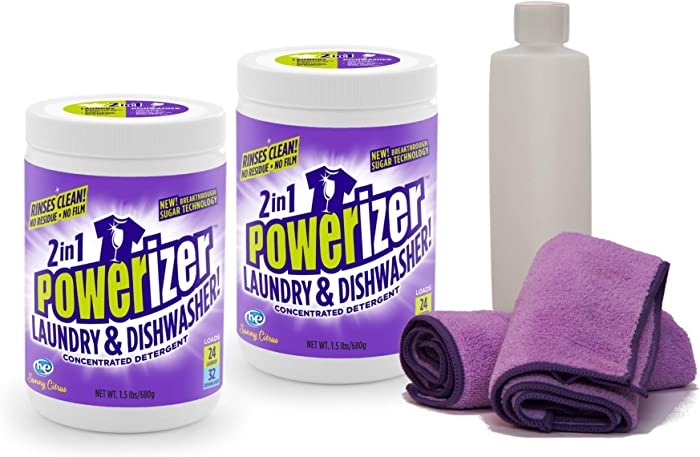 Powerizer 2-in-1 Laundry & Dishwasher Detergent 2-1.5lb Jar Kit