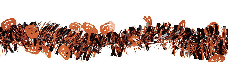 Halloween Tinsel Garland - 8-Pack Pumpkin Garland for Halloween Party Decoration, Black and Orange, 6.5 Feet Each Juvale