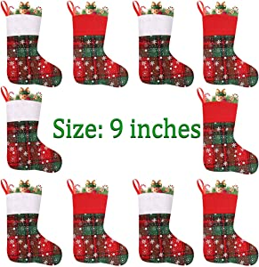 Vanteriam 9'' Mini Christmas Stockings with Snowflakes, Gift & Treat Bags for Favors and Decorations, Set of 10