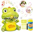 HOMOFY Bubble Machine Toys,Cute Dinosaur Bubble Blower,Music/Light,Manual/Auto Feature,with 1 Durable Solution Dinosaur Toys for 1 2 3 4 5 Year Old Boys/Girls/Kids&Toddlers Gifts