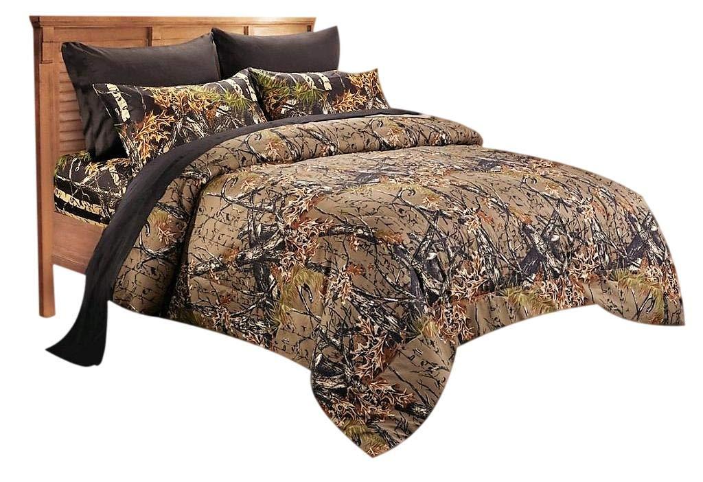 20 Lakes Woodland Hunter Camo Comforter, Sheet, Pillowcase Set (Twin, Forest)