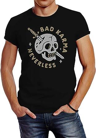 Neverless® Camiseta para hombre con diseño de calavera con ...