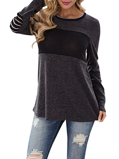 c01d9295e0 Famulily Women's Long Sleeve Round Neck Stripe Elbow Patch Color Block Shirt  Tops at Amazon Women's Clothing store: