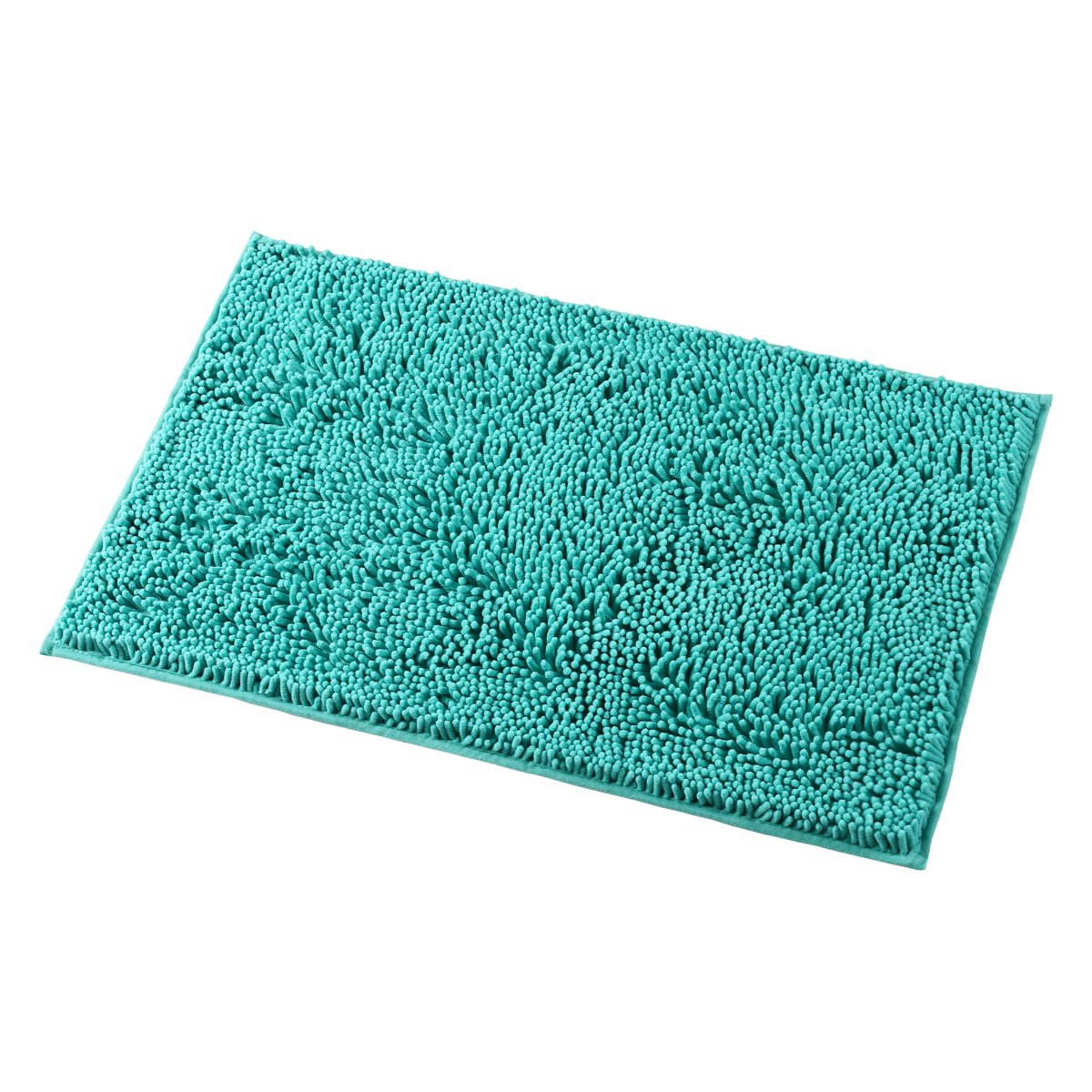 "MAYSHINE Non-Slip Bathroom Rug Shag Shower Mat Machine-Washable Bath Mats with Water Absorbent Soft Microfibers, 20"" W x 32"" L, Turquoise"