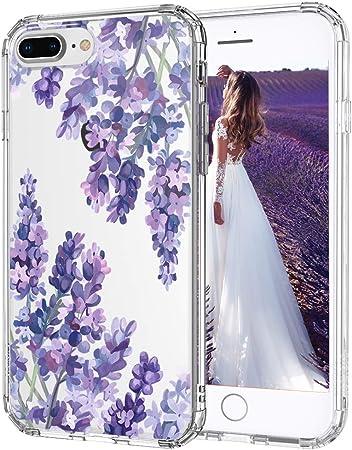 MOSNOVO Cover iPhone 8 Plus, Cover iPhone 7 Plus, Lavanda Fiore Floreale Trasparente con Disegni TPU Bumper con Protettiva Custodia per iPhone 7 ...