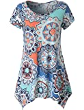Zattcas Womens Short Sleeve Flare Tunic Tops Loose Fit Print Summer Tunic Shirt …