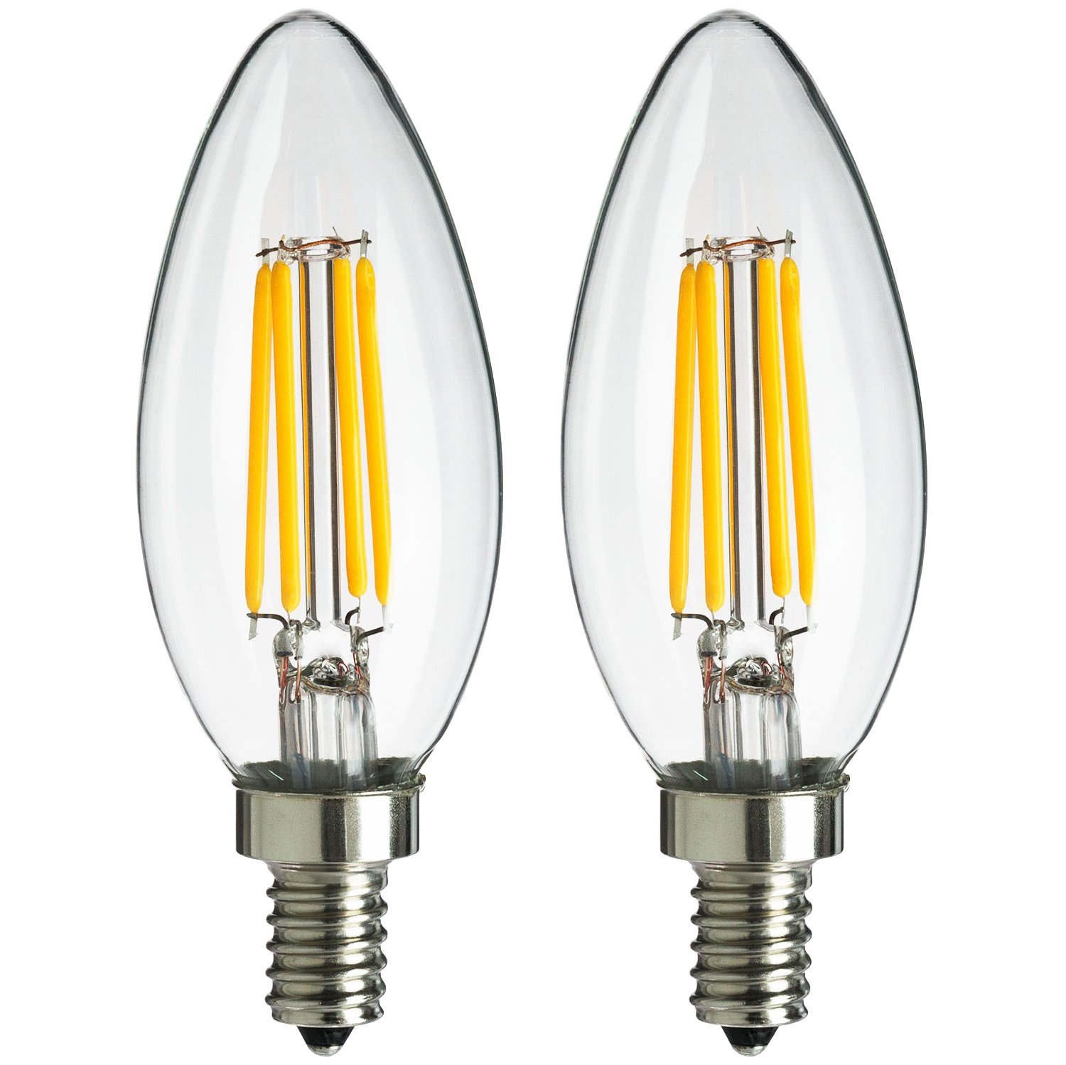sunlite 4w equivalent led filament antique style chandelier light bulb with candelabra base dimmable 2pack