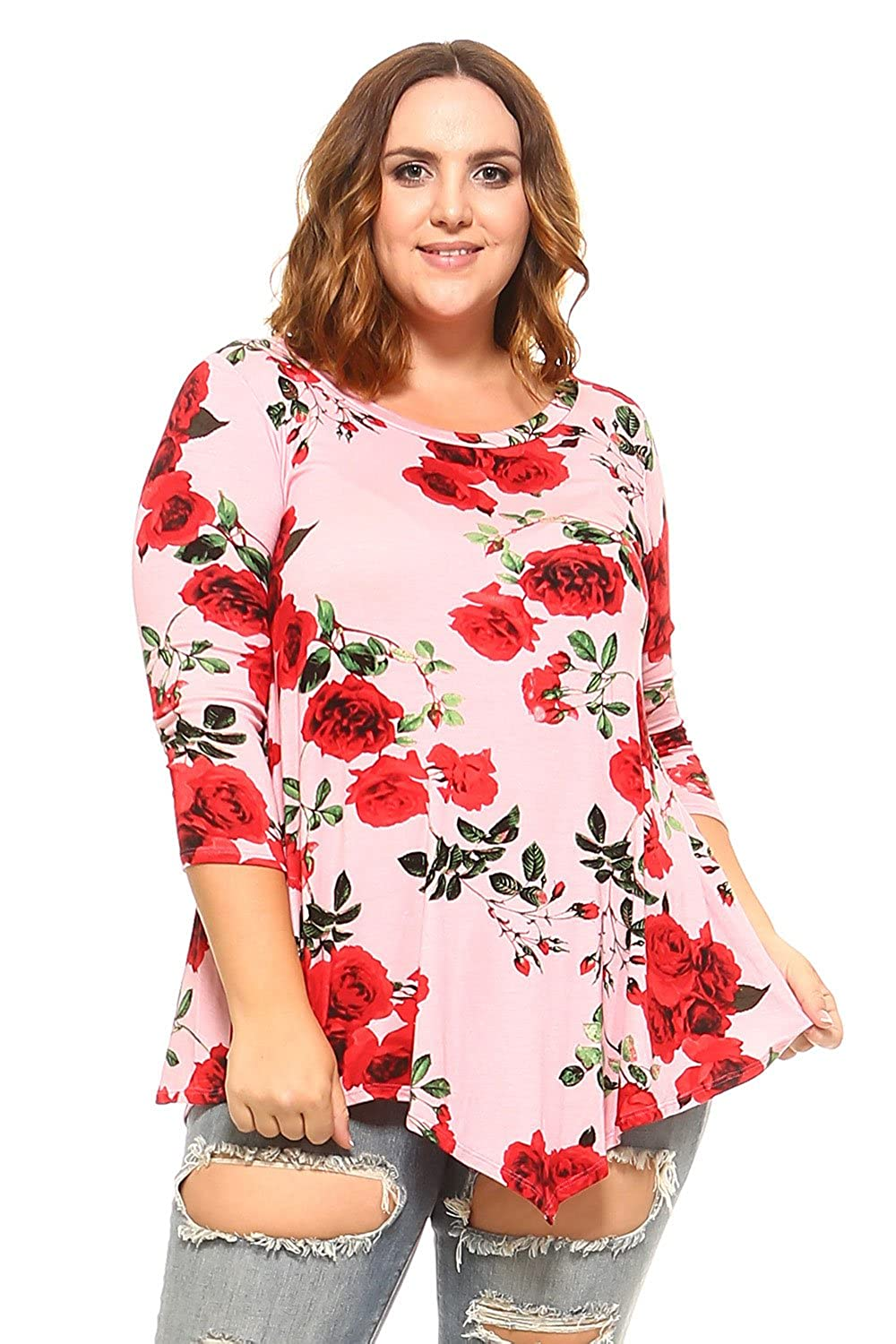 1380d64818f Made in USA Hankerchief , flare hem tunic tops. Lightweight soft fabric for  a comfortable feminine touch. Garment care: gentle machine wash cold / hand  wash ...