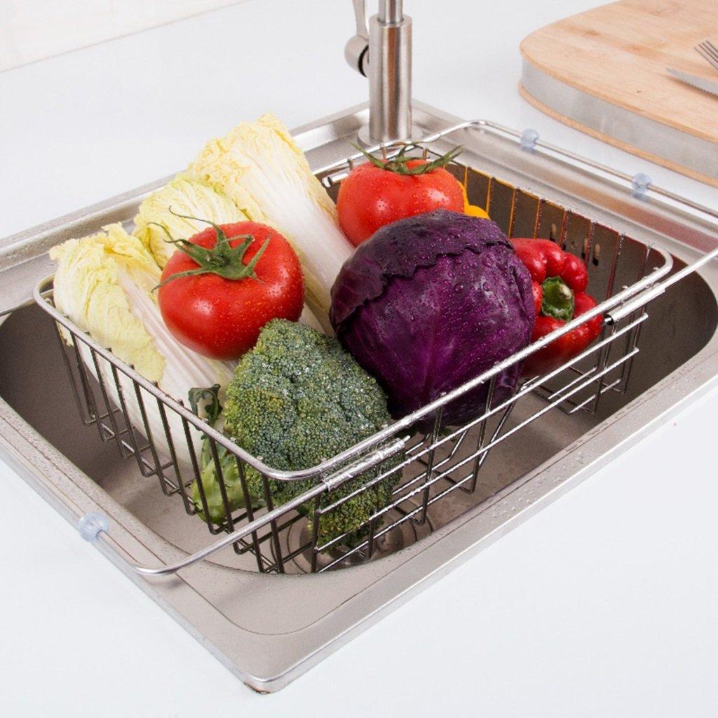 Kitchen Sink Drainer Rack 304 Stainless Steel Dish Shelf Adjustable Expandable Utensil Racks Organizer Storage Unit
