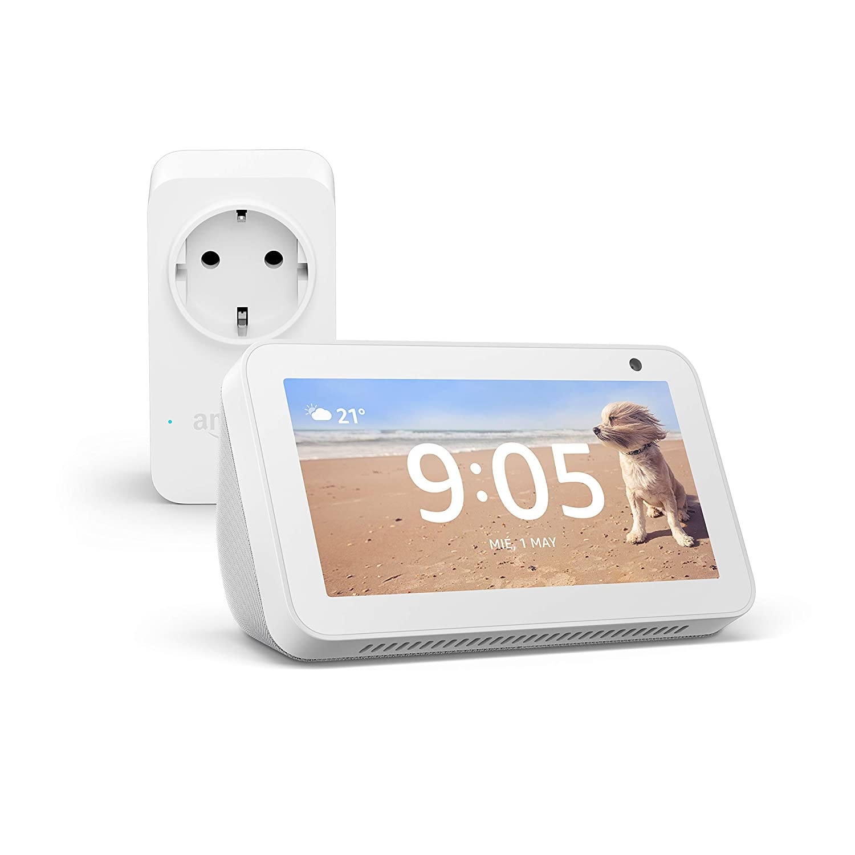 Echo Show 5 (blanco) + Amazon Smart Plug (enchufe inteligente wifi), compatible con Alexa