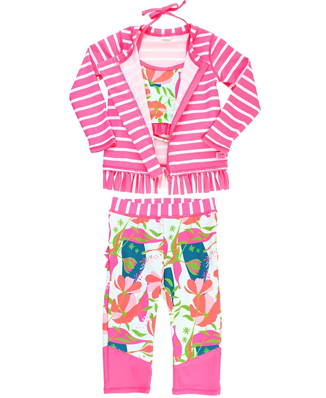 RuffleButts Little Girls Floral and Stripe 3-Piece Swim Set - Bikini Top, Long Sleeve Rash Guard Top and Swim Leggings RGSCAXX-3RJS-TDLR