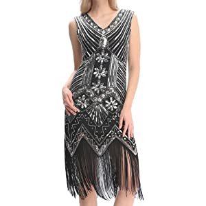 Meilun Women's 1920S Sequined Inspired Beaded Gatsby Flapper