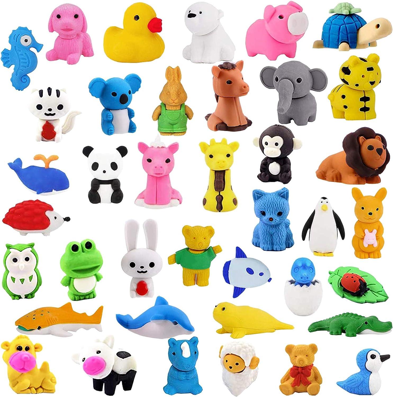 Zkptops 60pcs Animal Eraser Kids Pencil Eraser Mini Take Apart Puzzle Eraser Toys for Party Favors, Classroom Rewards, Game Prizes, Gift Exchange, Class Treasure Box, Easter Egg Stuffers