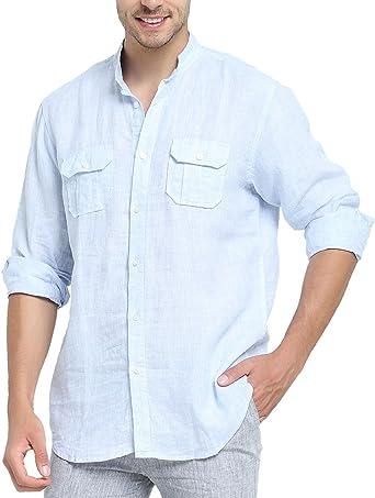 Najia Symbol Camisa de 100% Lino Tela Hombre Manga Larga Cuello Mao Bolsillo (Azul, S): Amazon.es: Ropa y accesorios