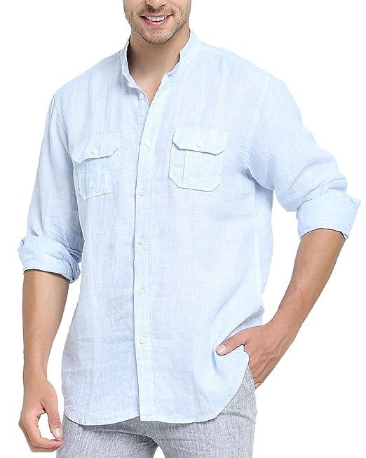 249d86259f494 Najia Symbol Camisa de 100% Lino Tela Hombre Manga Larga Cuello Mao  Bolsillo  Amazon.es  Ropa y accesorios