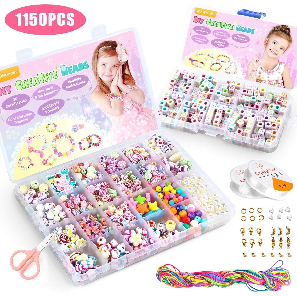 WinWonder Niños Bricolaje Conjunto de Cuentas,1150 PCS Pulseras Collares de Joyas para Niñas Cuentas para la Fabricación de Joyas