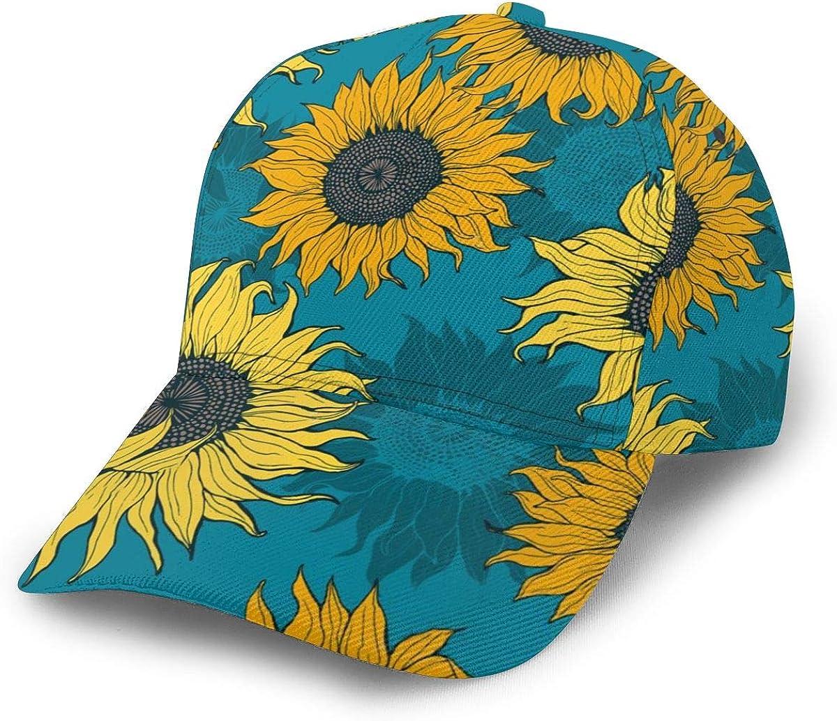 Yellow Sunflowers On A Blue2 Women Vintage Baseball Cap Unisex Adjustable Baseball Hats Dad Hat