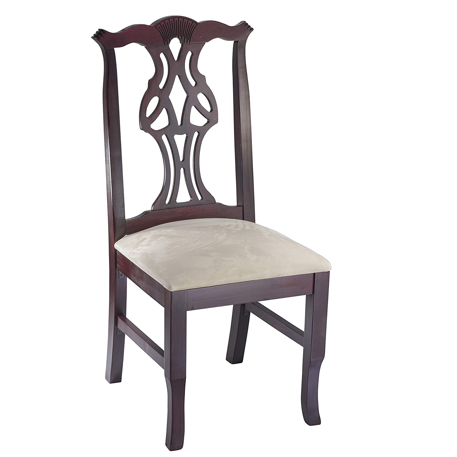 Wooden side chair fully assembled solid beech wood chair in dark mahogany with padded cream micro suede seat and sturdy backs for kitchen