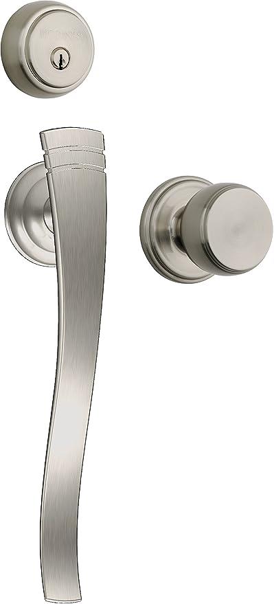 Brinks Push Pull Rotate Door Locks Rhodes Entry Handleset With Deadbolt,  Satin Nickel, 23071