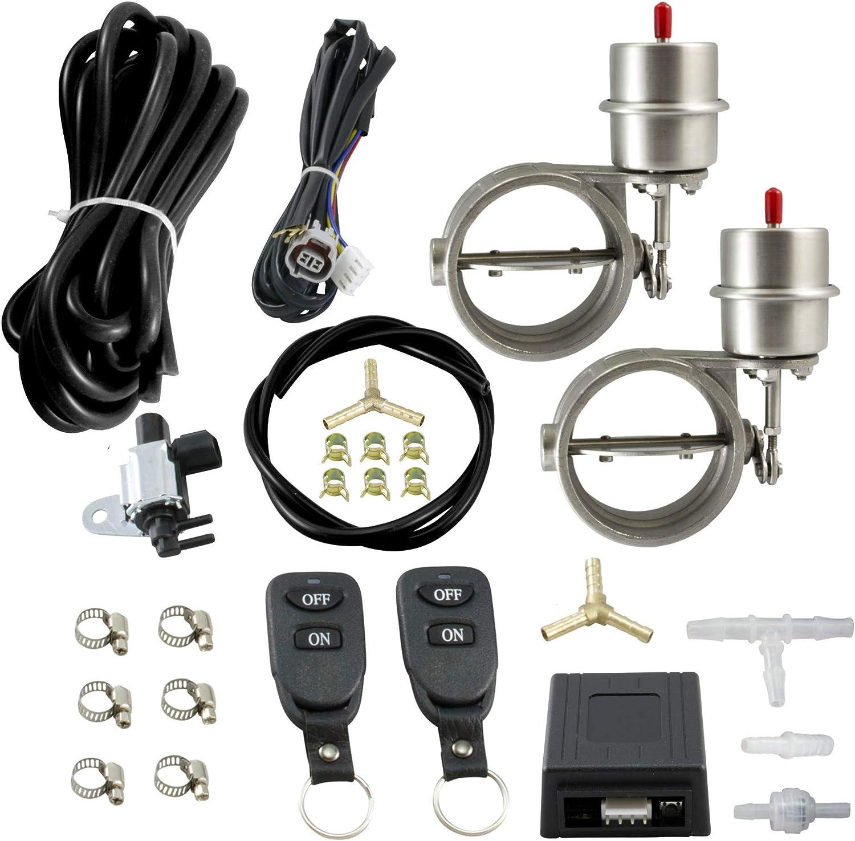 Geschlossen mit Klappensteuerungs-Set inkl 2 Edelstahl Abgasklappen 76mm // 3 Innen-/Ø Unterdruck 2 Fernbedienungen