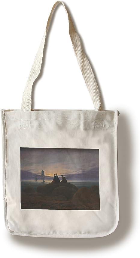 Amazon Com Moonrise Over The Sea Masterpiece Classic Artist Caspar David Friedrich C 1822 100 Cotton Tote Bag Reusable Posters Prints