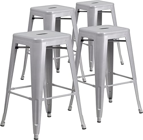 BELLEZE Set of 4 Modern Industrial Bar Stools Stackable Stool Footrest 30 Seat Height- Gray