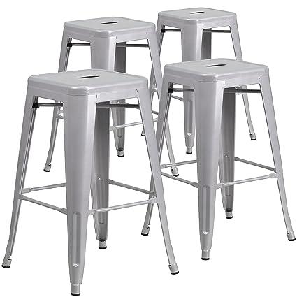 Magnificent Belleze Set Of 4 Modern Industrial Bar Stools Stackable Stool Footrest 30 Seat Height Gray Machost Co Dining Chair Design Ideas Machostcouk