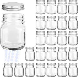 Glass Jars, KAMOTA 4 oz Mini Glass Jars with Lids Perfect for Mason Jars, Canning Jars, Favor Jars, Baby Food Jars, DIY Magnetic Spice Jars, Jam Jars,24 PACK,30 Whiteboard Labels Included