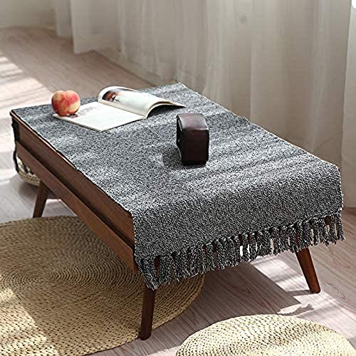 Abreeze Gray Woven Rug Tassels Braided Runner Cotton Reversible Rug Washable Living Room Bedroom Area Rug 35.4 x59