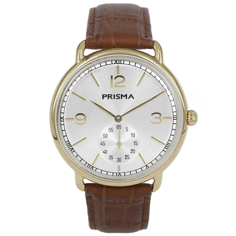 Prisma Herren Armbanduhr Dome Classic - Edelstahl gold mit Analog Quarzwerk - 3 ATM und Saphir coated P.1917