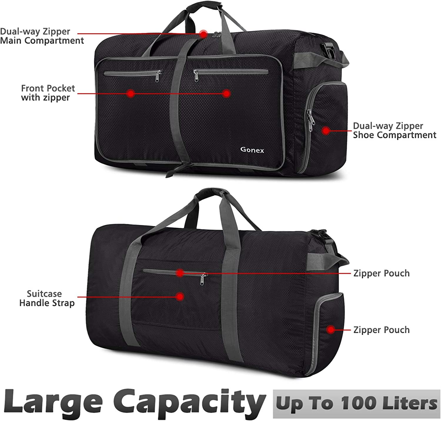 Gonex 100L Packable Travel Duffle Bag, Extra Large Luggage Duffel (Black): Clothing