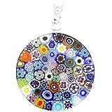 """GlassOfVenice Murano Glass Millefiori Pendant """"Multicolor"""" in Silver Frame 7/8"""""""
