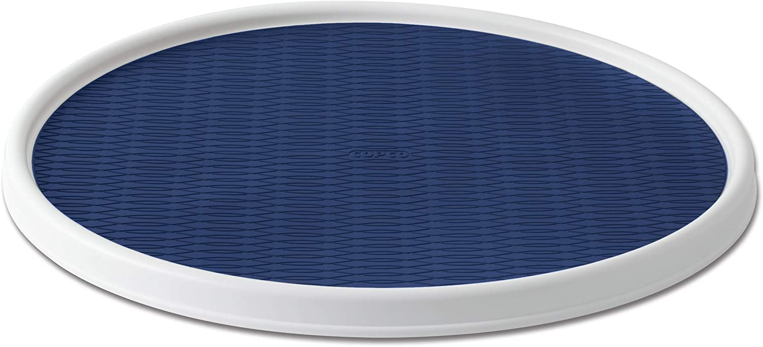 Copco Non-Skid Pantry Cabinet Lazy Susan Turntable, 18-Inch, White/Blue