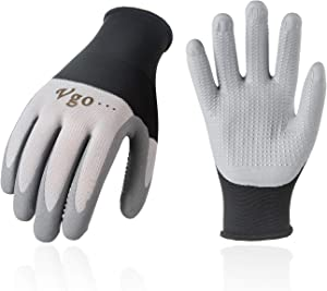 Vgo 10Pairs Super Light Micro Foam Nitrile Coating Gardening and Work Gloves, Kinitted Cuff, Washable (Size M, Black/Grey, NT2159)
