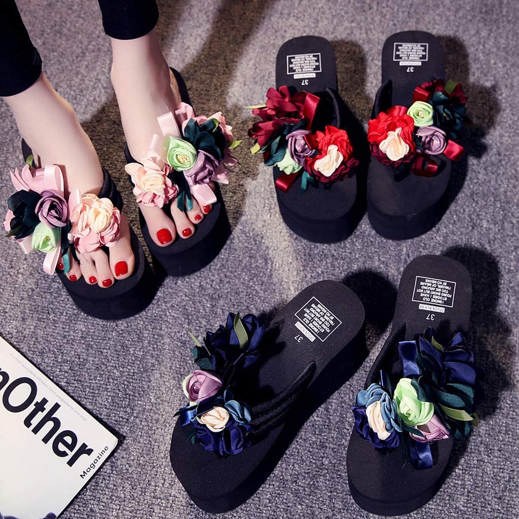 Women/'s Floral Douce Fleur Sandales Chaussures Plateforme Tongs Plage chaussons
