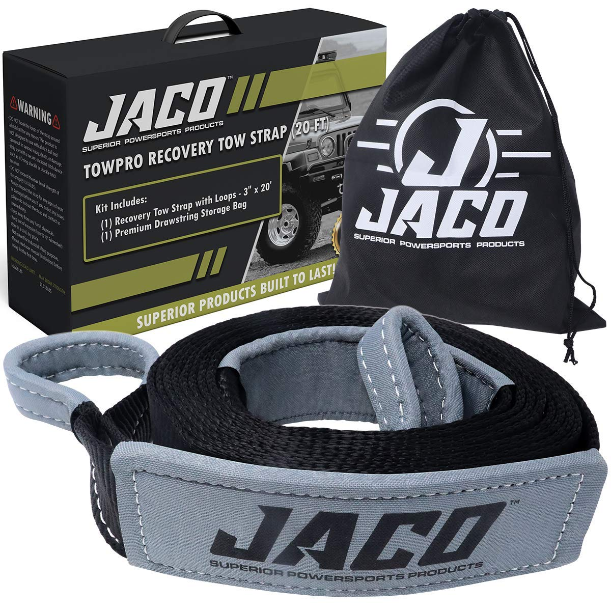 JACO TowPro Recovery Tow Strap (3 in x 20 ft) | 4x4 Trail Rated | AAR Certified Break Strength (31,518 lbs) | Heavy Duty Off Road Recovery Strap with Closed Loops | Emergency Towing Rope by JACO Superior Products