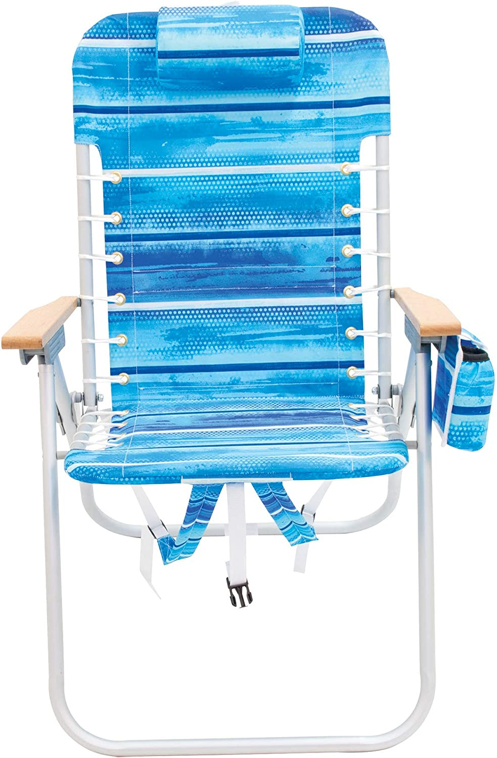 Blue Rio Gear 4-Position Lace-Up Backpack Folding Chair