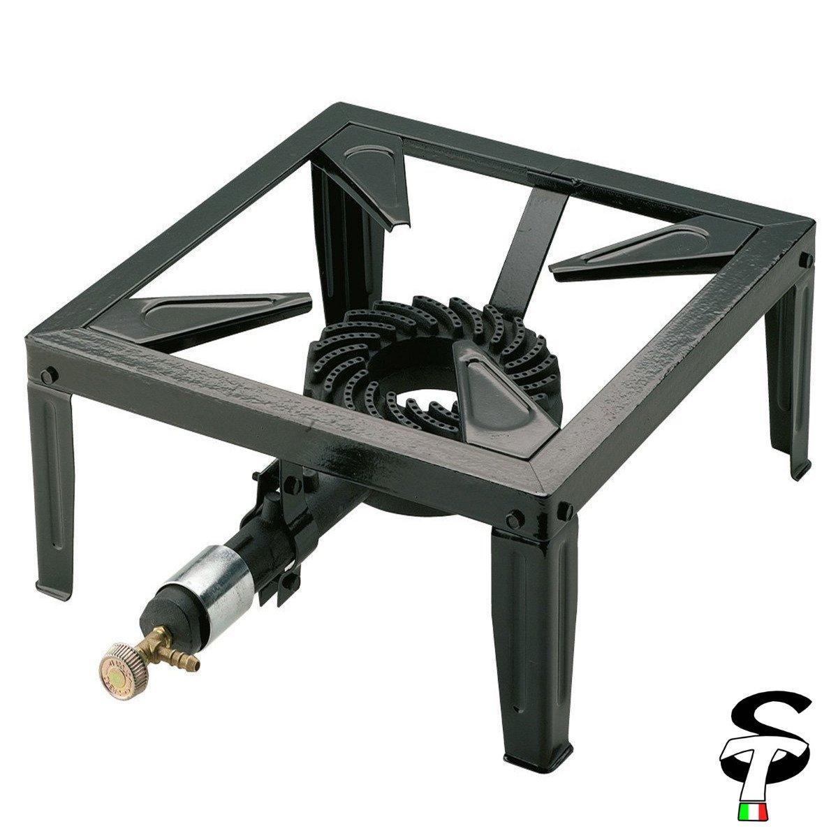 STI Fornellone a Gas Pomodori 400X400X170mm Acciaio Smaltato Campeggio Bruciatore