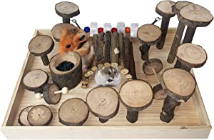 Hamiledyi Wooden Hamster Living Playground Activity Climb Platform Steps Mice Chewing Toys with Ladder/Grinding Stone/Food Bowl for Mouse,Gerbil, Small Animals