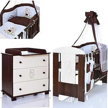 BÄR Braun Babyzimmer Möbel Komplettset mit Kinderbett 120x60 + ...