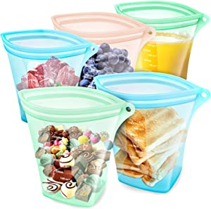 Reusable Silicone Food Storage Bags-5Pcs BPA Free Platinum Grade Stand up Food Bunker Container,Zipper Leakproof Reusable Sandwich Bags,Freezer Bags,Snack Bags/Microwave/Dishwasher 2x35.2Oz +3x17.6Oz